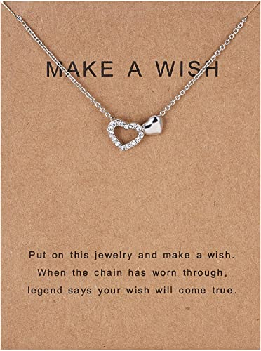 2021 OPTIMISTIC Wish Necklaces for high quality Women, Silver Plated Alloy Heart Pendant Necklace Gifts for Gifts for Mom and Daughter, Fashion Jewelry, Christmas high quality Birthday Gifts, Make A Wish Necklace online