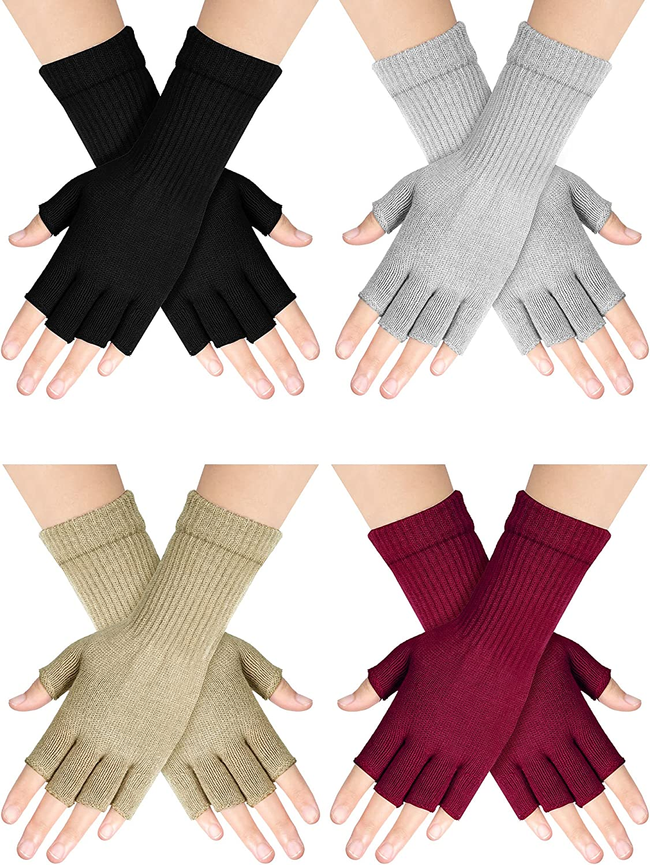 Unisex Half Finger Gloves Fingerless Typing Gloves Winter Stretchy Knit for Women Man (Black, Light Grey, Light Tan, Wine Red,4 Pairs)