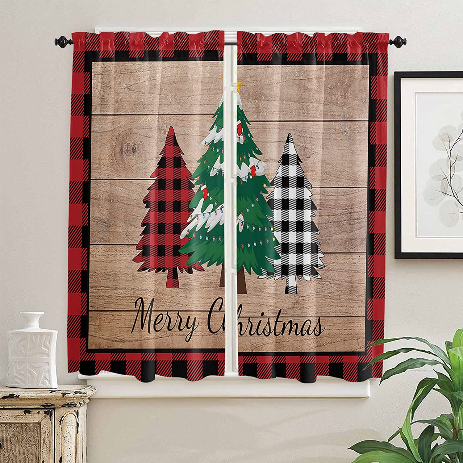 Christmas Kitchen Curtains 63 Length for Inch Outlet ☆ Free Memphis Mall Shipping Windows