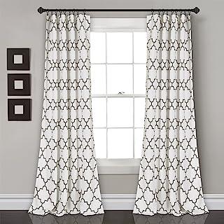 Lush Decor Bellagio Room Darkening Curtains-Trellis Geometric Design Window Panel Drapes Set for Living, Dining, Bedroom (...
