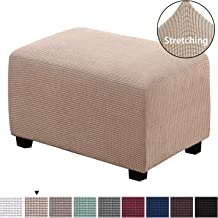 H.VERSAILTEX Spandex Elastic Rectangle Footstool Sofa Cover Footstool Protector for Living Room Stretch Storage Jacquqard Textured Twill Fabric Ottoman Slipcover for Sofa Sets, Large Size, Sand