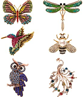 Hicarer 6 Pieces Women Brooch Set Crystal Pin Brooch with Dragonfly Butterfly Hummingbird Owl Peacock Bee Design Colorful Animal Shape Brooch Pin for Women Girls Party Favors