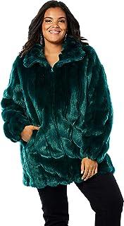5529895b0e Amazon.com: Plus Size - Greens / Fur & Faux Fur / Coats, Jackets ...