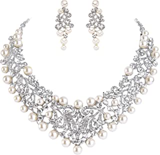 Women's Crystal Simulated Pearl Vintage Style Wedding Necklace Earrings Set