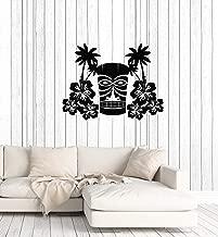 Vinyl Wall Decal Hawaiian Flowers Tree Palms Mask Tiki Bar Hawaii Art Interior Stickers Mural Large Decor (ig5978) Black