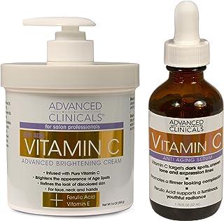 Advanced Clinicals Vitamin C Skin Care set for face and body. Spa Size 16oz Vitamin C cream and Vitamin C f...