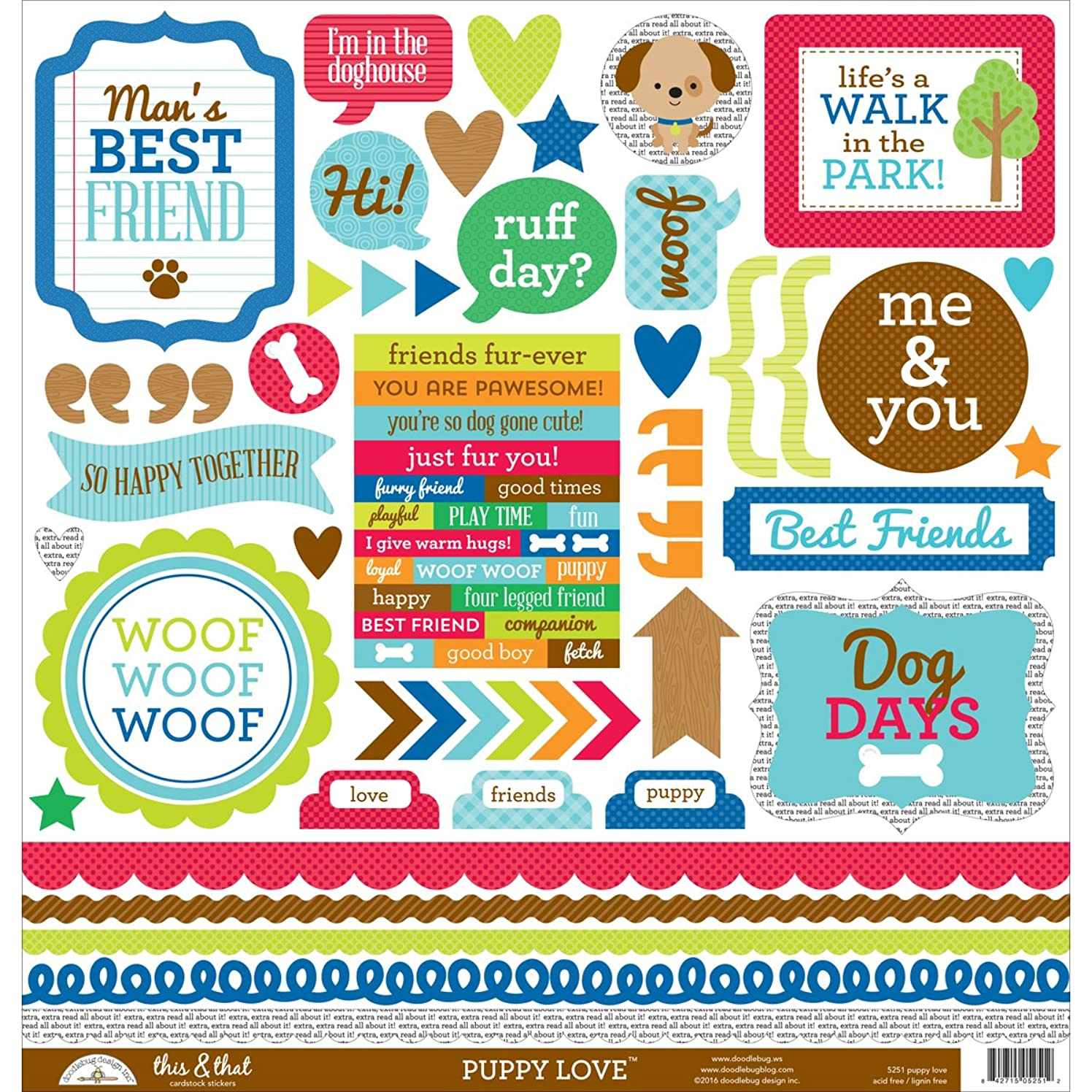 DOODLEBUG 5251 Puppy Love Cardstock Stickers 12
