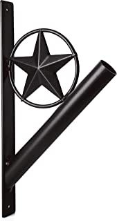"""Best EcoRise Flag Pole Holder - Texas Rustic Iron Star Bracket Mount Outdoor Wall Décor for House, Strong and Rust Free Coated, 1-1/8"""" Inner Diameter (Black) Review"""