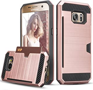 Galaxy S7 Case, TILL(TM) Wallet Case [Card Pocket] Shockproof Dual Protective Shell Rubber Bumper w/Card Holder Slot Kickstand Case Cover for Samsung Galaxy S7 S VII G930 GS7 All Carrier [Rose Gold]