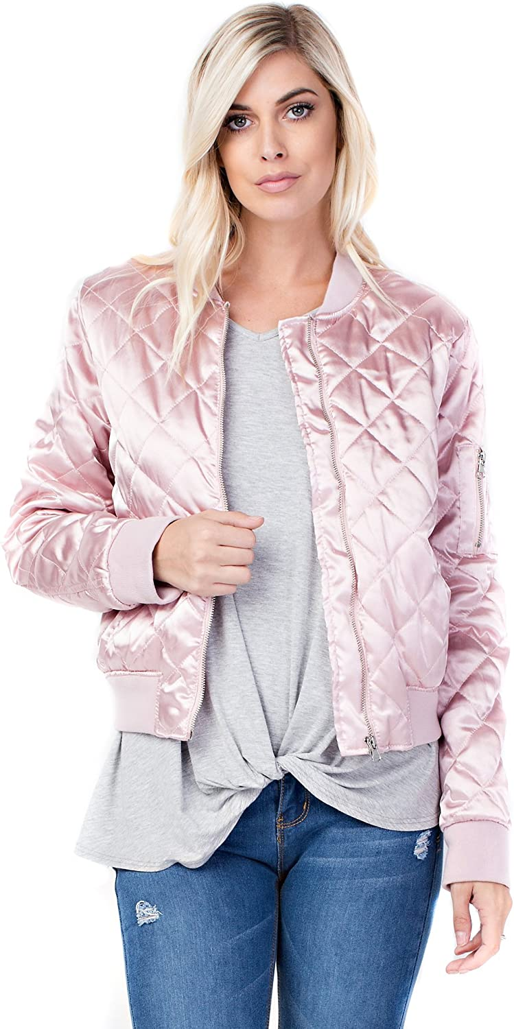 Allora Betsy Red Couture Women's Quilted Satin Bomber Jacket