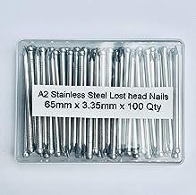 100 stuks. Diameter 3,35 x 65 mm. A2 RVS verloren hoofdnagel - Verpakt in plastic container - Grade 304