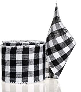GIYOMI Black and White Buffalo Plaid Ribbon - 10 Yards by 2.5 Inches Wired Edge Gingham Burlap Ribbon for Christmas Decora...