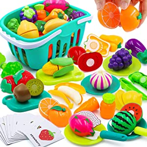 Play Food Toy for Kids Kitchen Accessories for Toddler,63 PCS Kitchen Toy with Plastic Shopping Basket Dishes Cutting Vegetable Fruit Educational Learning Flash Cards for Toddlers Birthday Gift