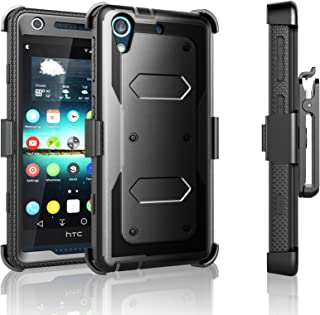 HTC Desire 626 Case, Desire 626S Case, Tekcoo [TShell Series] [Black] Shock Absorbing [Built-in Screen Protector] Holster Locking Belt Clip Defender Heavy Case Cover for HTC Desire 626S/626