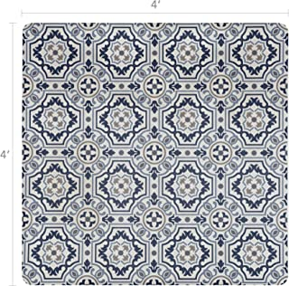 Vinyl Floor Mat, Durable, Soft and Easy to Clean, Ideal for Highchair Floor Mat, Mudroom Mat or Play Mat. Freestyle, Denim Tapestry Pattern (4 ft x 4 ft)