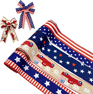 14 yards Patriotic July 4th Ribbon Mix Lot Grosgrain//Satin//Scrapbooking R-USA
