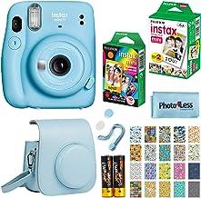 Fujifilm Instax Mini 11 Instant Camera + Fujifilm Instax Mini Twin Pack Instant Film (16437396) + Single Pack Rainbow Film + Case + Travel Stickers (Sky Blue)