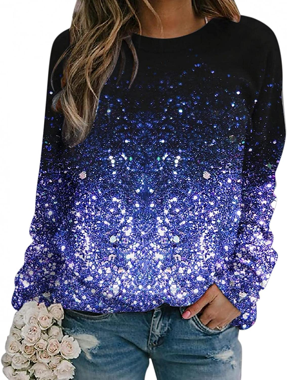 Aukbays Fall Clothes Columbus Mall for Women Sleeve Women's Casual Graphi Year-end annual account Long