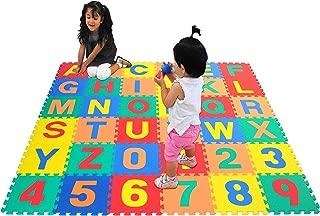 "eWonderWorld 36Piece 12"" Premium Thick Non-Toxic Kids & Toddlers Interlocking Alphabet & Numbers Floor Puzzle Foam Play Mat - Waterproof Eva Foam Tiles, Baby Mat for Crawling"