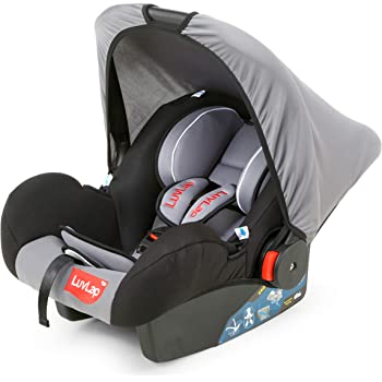 LuvLap 4-in-1 Infant/Baby Car Seat & Carry Cot with Canopy, 0 to 15 Months (Grey)
