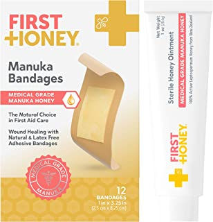 First Honey Manuka Honey Ointment + Honey Adhesive Bandages Bundle   Antibiotic Free Medical Grade   Burns, Cuts, Scrapes,...