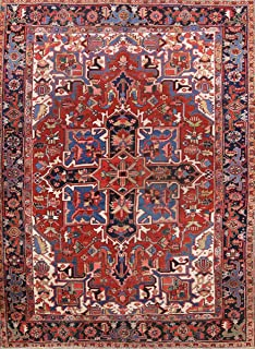 Vegetable Dye Pre-1900 Geometric Antique Heriz Serapi Persian Red/Blue Area Rug
