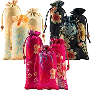 9pcs Silk Brocade Coin Bags Pouches with Drawstring Jewelry Gift Bag Candy Sachet Pouch Small Chinese Embroidered Organizers Pocket for Women Girls Dice Necklaces Earrings Bracelets, Mix Colors