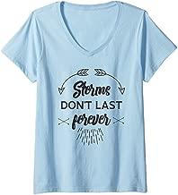Womens Storms Don't Last Forever V-Neck T-Shirt
