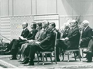 Vintage photo of Talman Henry Allard, King Carl XVI Gustaf, Queen Silvia, Prince Bertil, Olof Palme and Gunnar Lagergren at the opening of the Riksdag