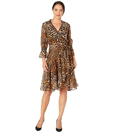 Tahari by ASL Petite Animal Printed Chiffon Long Sleeve Dress with Side Tie and Cinched Sleeve (Classic Leopard) Women