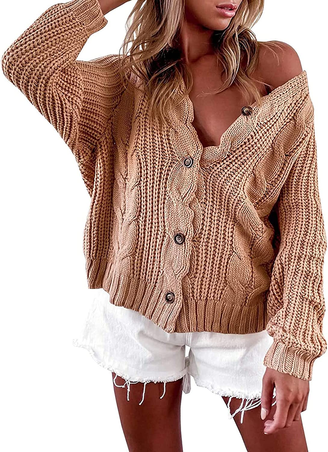 BEUU Women's Button Down Cardigan Sweaters Open Front Cable Knit Off Shoulder Long Sleeve Cable Knit Baggy Crop Outwear