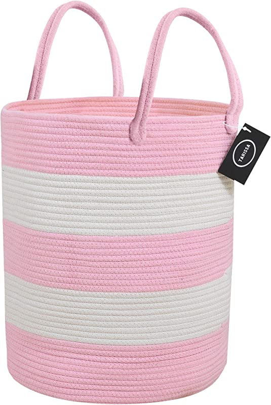 Tarissa Cotton Rope Storage Basket Large 18 X 16 Pink Decorative Round Woven Basket With Handles For Toys Clothes Blankets Laundry Baby Nursery Bin