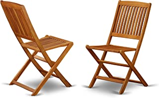 East West Furniture Solid Acacia Wooden Patio folding side Chair -Set of two