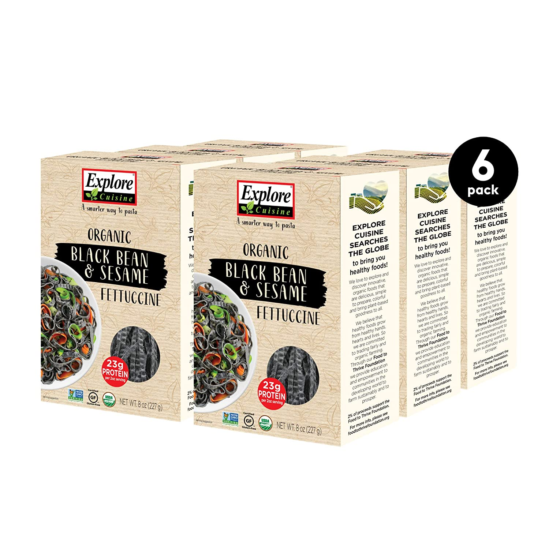 Explore Cuisine Organic Black Bean & Sesame Fettuccine (6 Pack) - 8 oz - High Protein, Gluten Free Pasta - USDA Certified Organic, Vegan, Kosher, Non GMO - 24 Total Servings