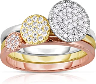 A Solid 925 Sterling Silver and 14K Gold Plated Cubic Zirconia Tricolor Cluster Pave Ring.