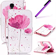 Galaxy S4 Mini Case,Galaxy S4 Mini Wallet Case,LEECO Card Slots Wallet PU Leather Protects Flip Skin Case with Magnetic Closure Folio Cover for Samsung Galaxy S4 Mini A pink flower