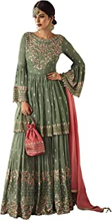 Fabzara Womens New Designer Sharara with Plazzo Style Suit (59002_Semi-Stitched)