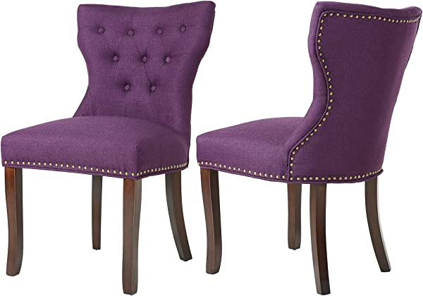 DAGONHIL Fabric Dining Accent Chairs Set Of 2 With Brown Solid Wooden Legs Nailed Trim Purple