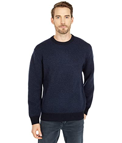 Lacoste Long Sleeve Printed Jacquard Crew Neck Sweater (Abysm/Heather Nebula) Men