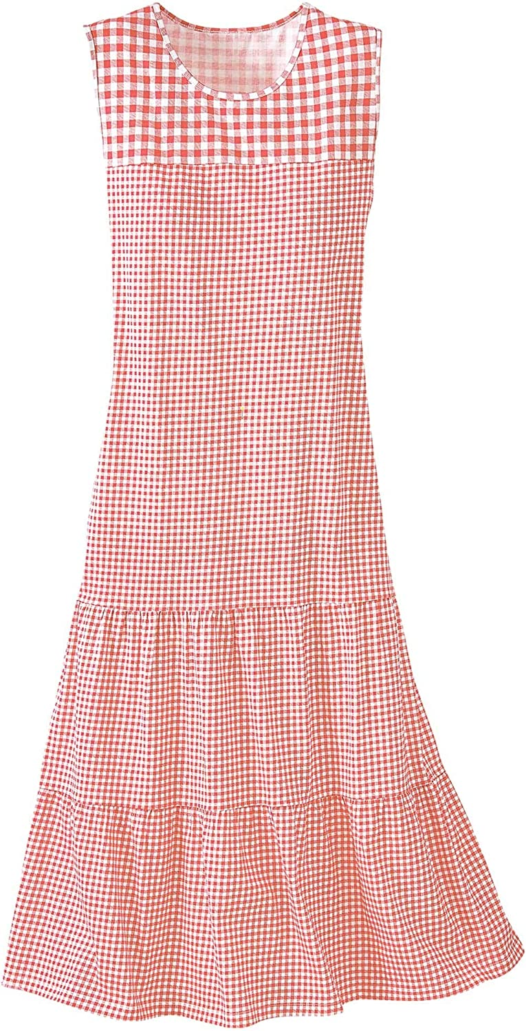 National Gingham Knit Sundress - Sleeveless Tiered Style, Contrast Yokes, Classic Check, Side Pockets