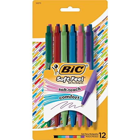 BIC Soft Feel Fashion Retractable Ballpoint Pen With Special No-Slip Comfortable Grip, Medium Point (1.0mm), Assorted Colors, 12-Count