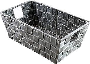 Dependable Industries inc. Essentials Small Multi-Purpose Woven Shelf Storage Tote (Silver)