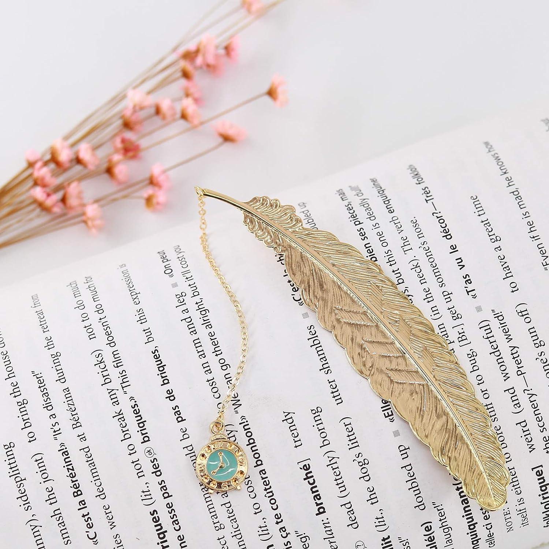 Jiazhenep Bookmarks Teens Boys Girls. Gold Key.Space Rocket Book Lovers Men 2 Pack Handmade Metal Feather Gifts Book Markers for Kids