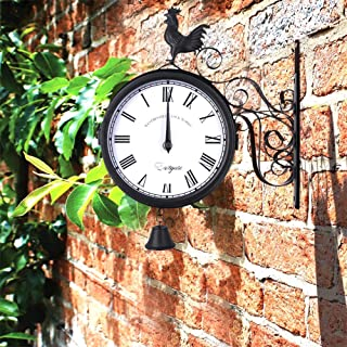 EDIONS Rooster Design Wrought Iron Hanging Clock with Bell, Wall Mounted Double Sided Round Wall Clock, Vintage Roman Time Clock for Outdoor Garden Porch Fence Decor (Black)