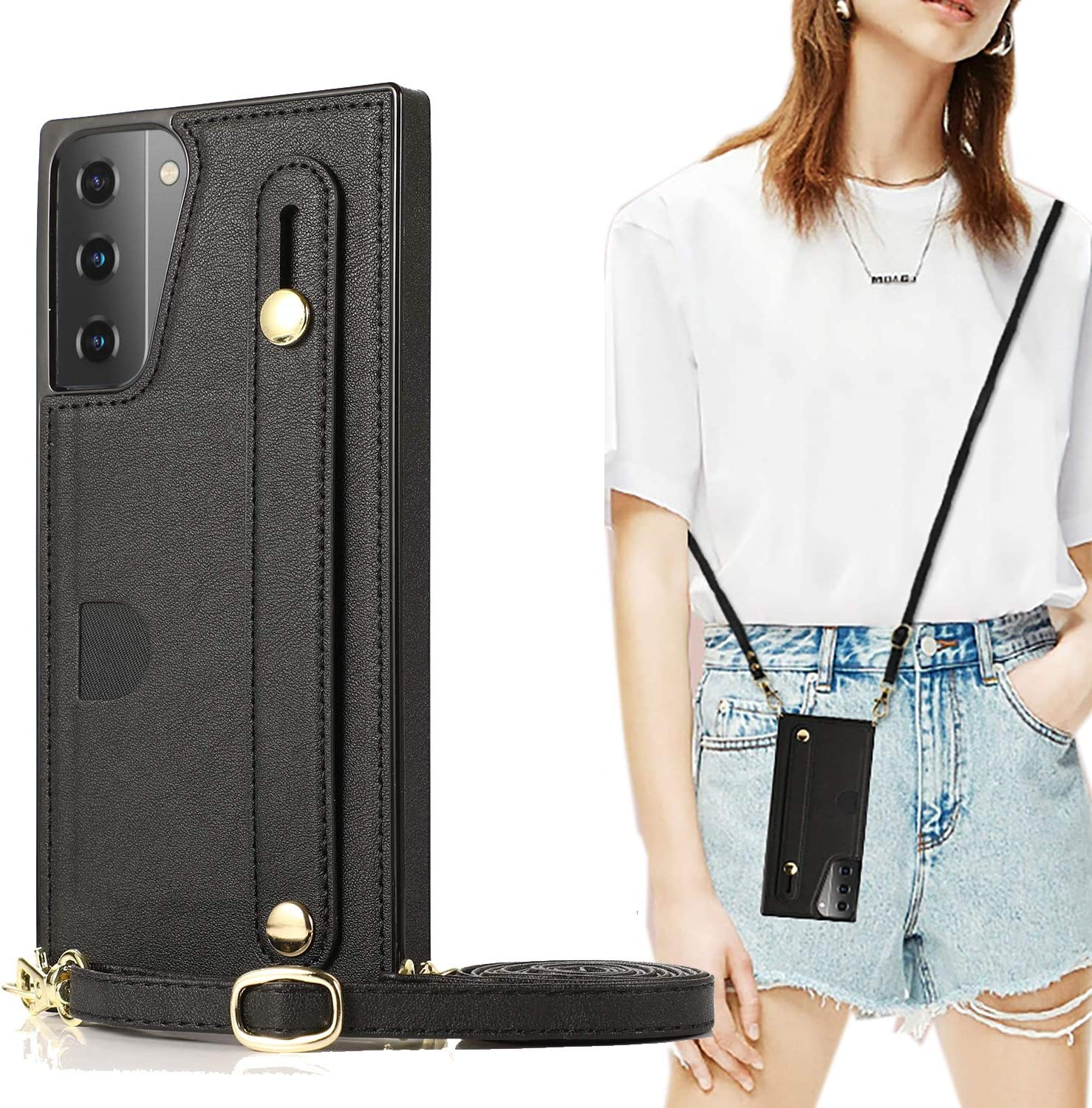 Samsung Galaxy S21 Plus Wallet Case,CCSmall Removable Adjustable Leather Strap Crossbody Card Holders Case Neck Strap Lanyard Purse Shoulder Strap Purse Case for Samsung Galaxy S21 Plus 5G KB Black