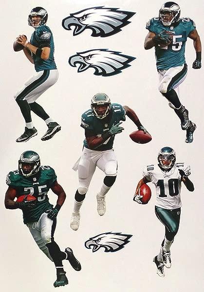 Philadelphia Eagles Mini FATHEAD Team Set 5 Players 3 Eagles Logo Official NFL Vinyl Wall Graphics Each Player 7 INCH