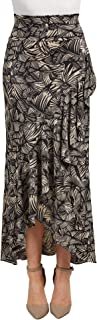 LL Womens Wrapped High Low Ruffle Maxi Skirt - Made in USA