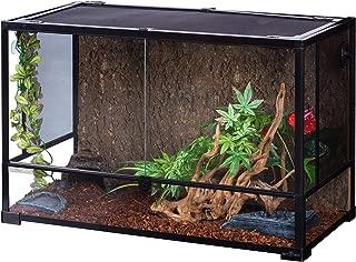 REPTI ZOO Reptile Glass Terrarium,Double Hinge Door with Screen Ventilation Reptile Terrarium 36