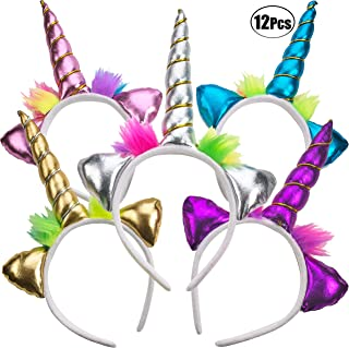 Unicorn Headband - (Pack of 12) Unicorn Headbands for Girls, Party Favors and Rainbow Unicorn Birthday Party Supplies for Kids, Sparkling and Flexible Horn Hair Accessory By Bedwina
