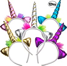 Unicorn Headband - (Pack of 12) Unicorn Headbands for Girls, Party Favors and Rainbow Unicorn Birthday Party Supplies for ...